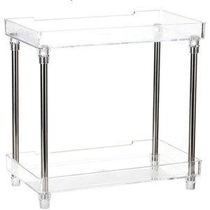 Countertop and desk organiser 2-tier clear shelf